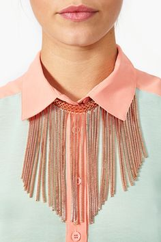 Waterfall Fringe Necklace- it'd be a good way to spice up a plain shirt!