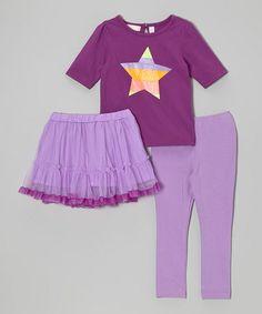 Look at this #zulilyfind! Purple & Orange Star Tee Set - Infant, Toddler & Girls by Kids Headquarters #zulilyfinds