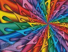 Teardrop Spiral Fractal - cross stitch pattern designed by Tereena Clarke. Category: Arts.