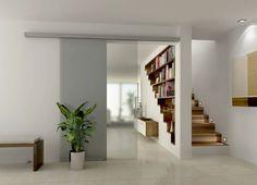 cloison amovible ikea, porte en verre, plante verte, escalier en bois clair, plante verte d'intérieur