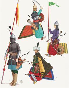 Sipahy - (1) Sipahy Ulufely, (2) Garip, 'the poor one', (3) Anatolian Timar, (4) Provincial Sipahy. - Bruno Mugnai & Chris Flaherty. «Der Lange Türkenkrieg (1593-1606) Vol. I.»
