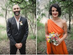 WOW! Takes one bold bride to wear an orange wedding dress. Her simple bouquet of neutral brunia berries, flannel flowers, flowering gum with bright yellow billy balls is perfection.