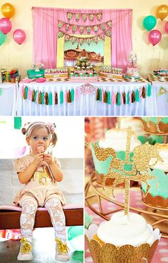 Adorable Cupcakes and Carousels Themed Birthday Party with pink, gold and aqua decorations, a cute carnival ticket booth, and white chocolate carousel pops!