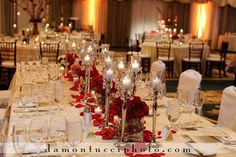 Damon Tucci Photography, Rose Centerpieces and petals, Romantic Reception Floral