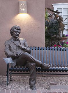 """Mark Twain Bronze"" - photo by Charles Yurchak (Cha Li), via Flickr;  in New Mexico"