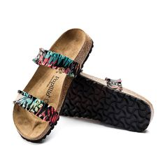 05fc359820 Birkenstock - Curacao - Textile in Flower Frill Black (Papillio Footbed -  Suede Lined)