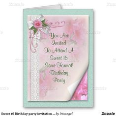 Sweet 16 Birthday party invitation Victorian rose Greeting Card