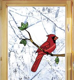 """CLR:WND - Cardinal Bird Perched on Branch - Stained Glass Style Vinyl Decal for Windows ©YYDC(5.75""""w x 6""""h)"""