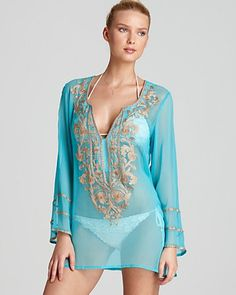 Ella Moss Embroidered Swim Coverup Tunic For the Bride Honeymoon night modest nightwear and #BridalLingerie, wwwPerfectMuslimWedding.com