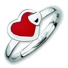 Sterling Silver Stackable Expressions Polished Red Enameled Heart Ring Size 5 -- Find out more about the great product at the image link.(This is an Amazon affiliate link and I receive a commission for the sales)