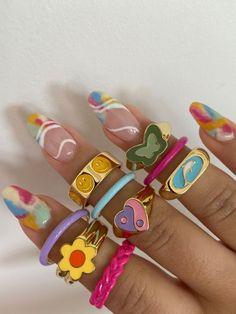 Funky Jewelry, Hand Jewelry, Trendy Jewelry, Cute Jewelry, Jewlery, Pastel Nails, Cute Acrylic Nails, Acryl Nails, Nail Ring