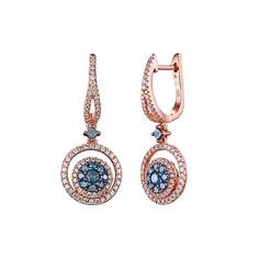 1 1/8 ct. tw. Blue & White Diamond Dangle Earrings in 14K Rose Gold