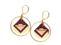 Leather graphic creoles earrings art deco style gold by Fosseth