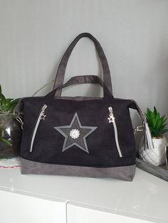 Sac Java gris à étoiles cousu par Agnès - Patron Sacôtin