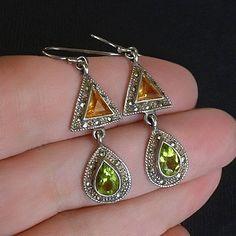 Vintage STERLING Silver Marcasite GEMSTONE Earrings PERIDOT Citrine Gemstones Earring Dangle Drops Pierced Ears Hallmarked #GemstoneEarrings #Peridot #Citrine #SterlingSilver #YearsAfter