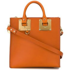 Sophie Hulme Small Box Tote (1 115 AUD) ❤ liked on Polyvore featuring bags, handbags, tote bags, real leather tote, orange leather purse, genuine leather purse, leather tote bags and orange leather tote