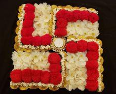 Kundan Art Kundan Rangoli Flower and pom pom Rangoli Real Flowers, Artificial Flowers, Diwali Decorations, Wedding Decorations, Arti Thali Decoration, Indian Baby Showers, Flower Rangoli, Rangoli Designs, Cute Jewelry