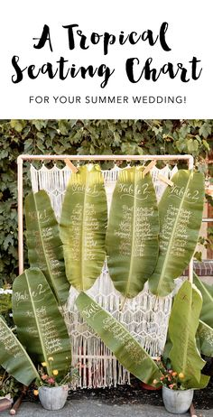 Birds of a Feather Flock to this Tropical Boho Industrial Wedding : We love this tropical leaf wedding seating chart! Find more details here! Wedding Destination, Hawaii Wedding, Wedding Venues, Wedding Planning, Wedding Ideas, Wedding Ceremony, Beach Ceremony, Wedding Beach, Trendy Wedding