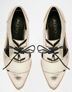 ALDO Casoni Gold Cut Out Flat Brogue Shoes