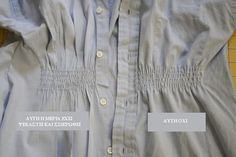 men's dress shirt to shirred women's shirt-actually kinda cute an easy way to get *shapely* if normal women's fitted shirts don't usually fit you. Do this for work shirts for me. Sewing Elastic, Elastic Thread, Sewing Hacks, Sewing Tutorials, Maternity Sewing Patterns, Mama Cloth, Diy Clothes Refashion, Fabric Stamping, Clothing Hacks