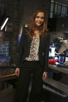 Abby in leather jacket, silk blouse, and flat-front wide-legged pants  #SCANDALfashion