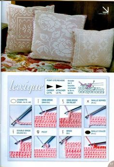 Crochet filet work pillows with diagrams