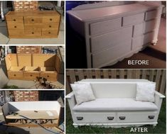 The best DIY projects & DIY ideas and tutorials: sewing, paper craft, DIY. DIY Furniture Plans & Tutorials : 100 Ways to Repurpose and Reuse Broken Household Items Make A Beautiful Bench From That Broken Dresser This is a great Refurbished Furniture, Repurposed Furniture, Furniture Makeover, Diy Dresser Makeover, Dresser Makeovers, Furniture Projects, Home Projects, Diy Furniture, Painted Furniture