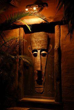 Door art in Cape Town, South Africa // African mask art