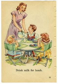 Milk - every day, three times a day. Growing up, fourteen gallon bottles clinked their way into our house twice a week carried by our favorite milkman, Mr. Vintage Children's Books, Vintage Love, Vintage Cards, Vintage Prints, Vintage Posters, Images Vintage, Vintage Pictures, Vintage Housewife, Decoupage