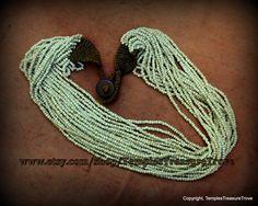 Vintage Konyak Naga Ecru Colored 20 Strand Seed Bead Necklace by TemplesTreasureTrove #Treasured @ https://www.etsy.com/treasury/NjEwODQzOTF8MjcyNTMxMTEwNQ/202