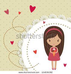 stock-vector-romantic-card-with-little-girl-124836382.jpg (450×470)