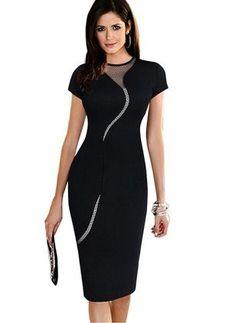 Polyester Cotton Blends Solid Short Sleeve Knee-Length Elegant Dresses