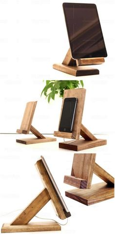 Handmade Wooden  Smart Phone iPad iPhone Charging Station Dock Mount Holder Charge Cord Cable Organizer