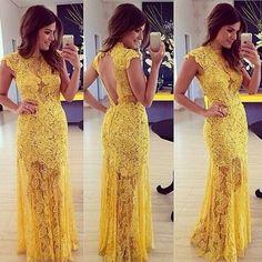 Vestido Largo Elegante Amarillo Encaje