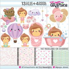 Baby Clipart, Baby Graphics, COMMERCIAL USE, Kawaii Clipart, Planner Accessories, Baby Girl Party, Baby Shower Graphic, Pastel Graphic, Cute