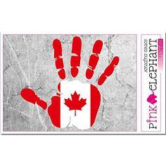 Aufkleber - Kanada - Hand - Handabdruck - Fahne - 21 cm x 20 cm - Laptop Sticker