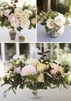 like this mix of sizes for long tables and round in silver containers and mixed with votives and candles but would want far more greenery with just a few lush blooms poking out