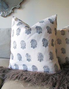 Wood block stamped pillows