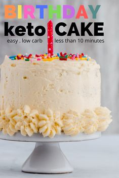 Easy Keto Birthday Cake Recipe - Make someone a birthday cake in less than 10 minutes! This is made from a low carb chaffle cake and frosted with creamy keto buttercream. Keto Birthday Cake, Ice Cream Birthday Cake, Birthday Recipes, 21st Birthday, Diabetic Birthday Cakes, Birthday Cake Flavors, Low Carb Sweets, Low Carb Desserts, Healthier Desserts