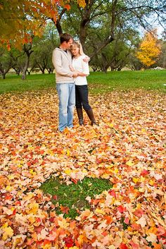 Great engagement shot for a fall wedding!!! Love the heart in the leaves idea :)
