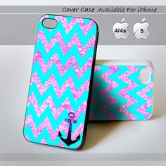 Chevron Anchor Sparkly - Print on hardplastic for iPhone 4/4s and 5 case, Samsung Galaxy S3/S4 case. Select an Option