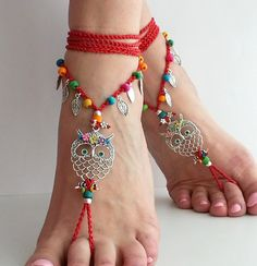Hippie owl barefoot sandals red Crochet sandals Hippie by FiArt