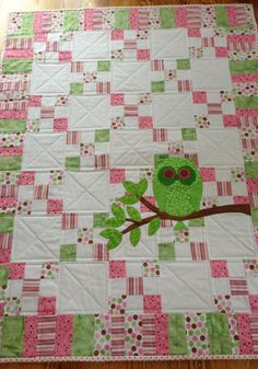 Pink & Green, Little Baby Girls, Owl Quilt on Etsy, $168.00
