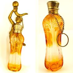 Antique Bohemian Cut to Clear Amber Overly Scent / Perfume Bottle Chatelaine, Dog & Bird Theme