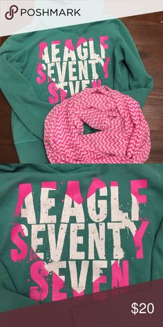 American Eagle Hoodie, PERFECT FOR FALL!🍁🌾 AE Hoodie in great shape! It's super cute too. The pink chevron scarf is in my closet too! 💕 Happy Poshing! American Eagle Outfitters Tops Sweatshirts & Hoodies