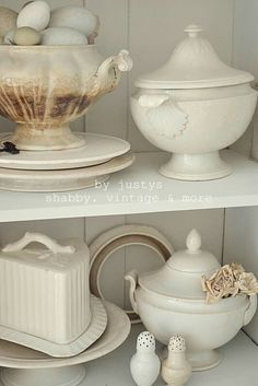 .Vintage White Ironstone Dishes