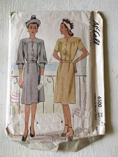 vintage sewing pattern McCall 6500 dress 1946 size 16 bust 34 #McCall