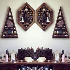 I love these cool wall cabinets. Perfect for magickal herbs, crystals, stones, oils, potions, small Goddess figurines, and other goodies.