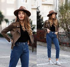 Get this look: http://lb.nu/look/8503927  More looks by Melike Gül: http://lb.nu/melikegul  Items in this look:  Zaful Jacket, Romwe Lace Up Neck Top, Zara Mom Jeans   #casual #minimal #street