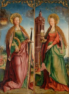 Wilhelm Ziegler Saints Catherine of Alexandria and Barbara Middle Ages Art, St Catherine, Medieval Art, Renaissance Artworks, Philadelphia Museum Of Art, Catherine Of Alexandria, Catholic Art, Medieval Paintings, Sacred Art